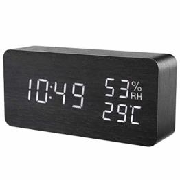 ORIA LED Digitaler Wecker, Holz Wecker Uhr Modern Tischuhr, Reisewecker Alarm Clock mit Sound-Kontrolle, 3 Einstellbare Helligkeit, 3 Alarm Einstellung, Datum, Zeit, Temperatur, Feuchtigkeit und USB - 1