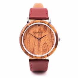 Ovi Watch, Holzuhr Damen, Quarz Uhr, Naturholz Gehäuse, Rot Echtes Lederarmband, Durchmesser 40mm - 1