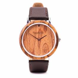 Ovi Watch - Holzuhr mit Schwarz Lederband - 1