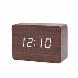 Queta LED Digital Wecker Klein Standuhr mit Datum Temperatur Anzeige, 3 Einstellbare Helligkeit, Sprachsteuerung, 2 Modi Display (Braun) - 1