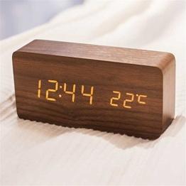 Queta LED Holz Wecker Digitalwecker Tisch Uhr Datum Temperatur Anzeige 12/24 Stunde (Braun) - 1