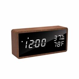 Rospick Holz Wecker, digital Wecker, LED Digitaluhr, Luftfeuchtigkeit Temperatur, Akustik Steuerung, für Schlafzimmer, Kinderzimmer und Büro - 1