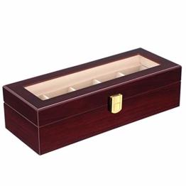 SONGMICS Uhrenbox mit 5 Fächern, aus Holz, Uhrenkasten mit Glasdeckel, Uhrenkoffer mit herausnehmbaren Uhrenkissen, Samt-Innenfutter, Metallverschluss, mahagonifarben JOW05RD - 1