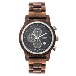 TENSE Cambridge Walnuss Chronograph Holzuhr Walnuss Armbanduhr für Herren 40mm Holz Quarz Chrono analog B4702W-B - 1