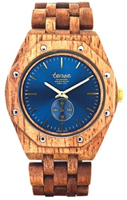 TENSE Holzuhr Herren Butternuss-Holz Ø 45 mm Armbanduhr Washington North analog Quarz J5845BN-BL - 1