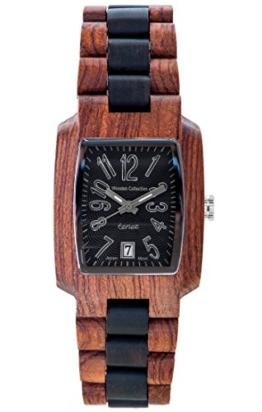 TENSE Holzuhr Herren Katalox Leadwood Ø 35 mm Armbanduhr Timber analog Quarz J8102RD-BSIL - 1