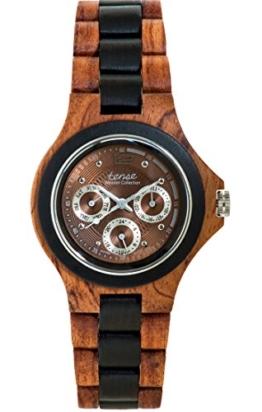 TENSE Holzuhr Herren Katalox Leadwood Ø 45 mm Armbanduhr Northwest analog Quarz G4300RD-BR - 1