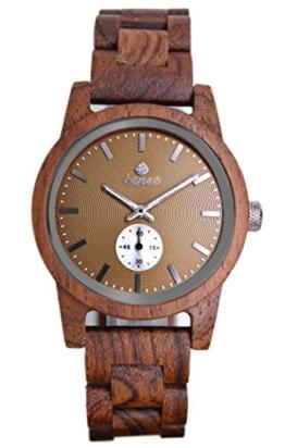 TENSE Holzuhr Herren Katalox Ø 40 mm Armbanduhr Hampton analog Quarz B4700R-BR - 1