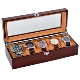 Uhrenbox Holz, The perseids Watch Case 5 Slots Massivholz Speicherorganisator Display Box Exquisite und Langlebig (MEHRWEG) - 1