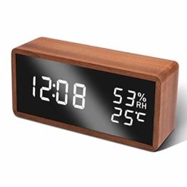 Unionup LED Wecker Digitaler Wecker, Tischuhr mit Temperatur und Luftfeuchtigkeit, Digital Uhr Holzwecker Uhr für Zuhause, Schlafzimmer, Kinderzimmer und Büro - 1