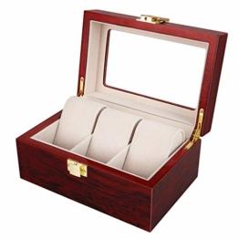 Uten Uhrenbox Holz für 3 Uhren Uhrenkasten Aufbewahrungsbox - 1