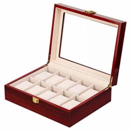 Uten Uhrenbox Holz Uhrenkasten Aufbewahrungbox Uhren, Für 10 Uhren - 1