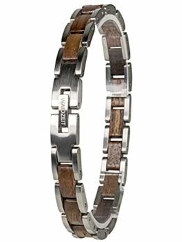 Waidzeit EL_W03 Damen Armband Walnuss Holz Silber braun 20,5 cm - 1