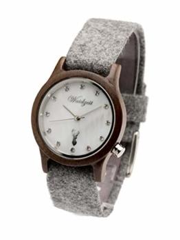 Waidzeit MT03 Alpin Matterhorn Uhr Damenuhr Loden Holz Analog Braun - 1