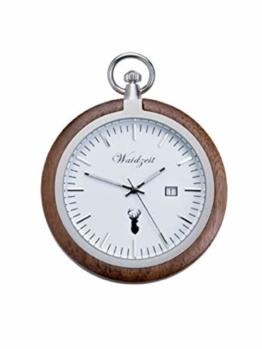 Waidzeit TW01 Alpin Walnuss Taschenuhr Uhr Herrenuhr Holz Analog Datum Weiss - 1