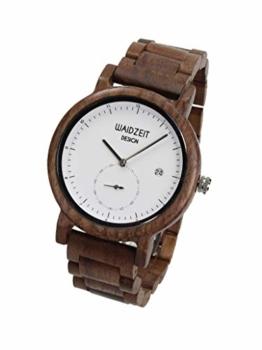 Waidzeit XW01 Maximilian weiß Uhr Herrenuhr Holz Analog Datum Braun - 1