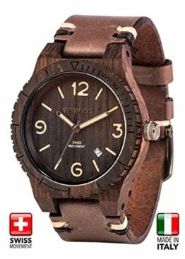 WeWOOD Herren Armbanduhr Alpha SW Black Rough mit Holz Armband Nr.WW08008 - 1