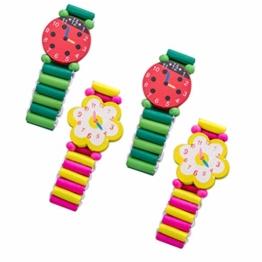 YeahiBaby Holzuhr Kinder Holz Armbanduhr Mitgebsel Kinder Spielzeug Geschenk 4 Stück (Zufällige Muster) - 1