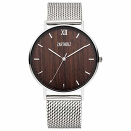 ZARTHOLZ Herren-Uhr Edelholz mit Holz Zifferblatt und Milanaise-Armband Silber - 1