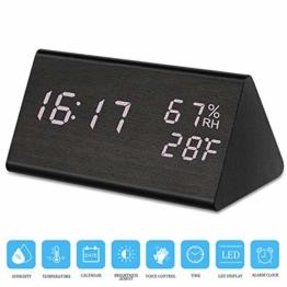 Zorara Digital Wecker, Digitaluhr Tischuhr Holz USB LED-Zeitanzeige, Digital Wecker Doppelte Temperatur- und Feuchtigkeitserkennung, Ideal für Schlafzimmer, Nacht Kinder (Schwarz) - 1